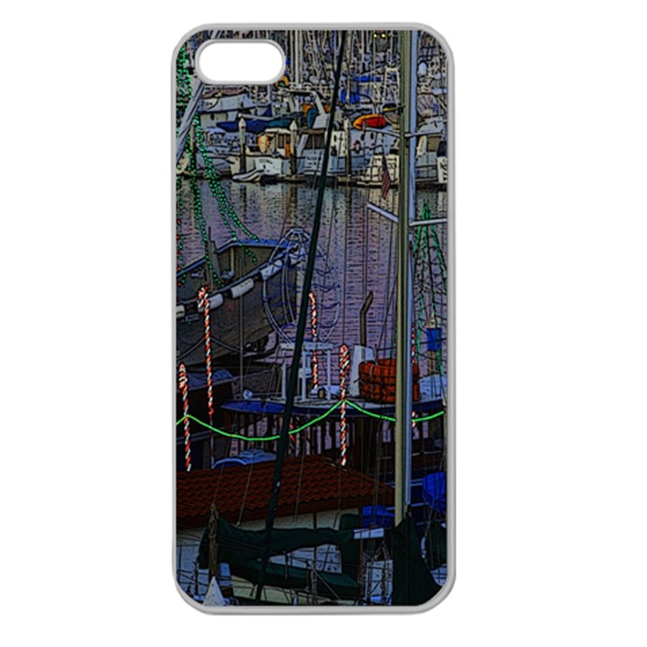 Christmas Boats In Harbor Apple Seamless iPhone 5 Case (Clear)