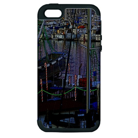 Christmas Boats In Harbor Apple iPhone 5 Hardshell Case (PC+Silicone)