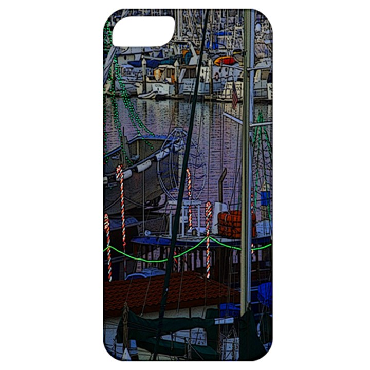 Christmas Boats In Harbor Apple iPhone 5 Classic Hardshell Case