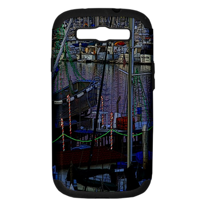 Christmas Boats In Harbor Samsung Galaxy S III Hardshell Case (PC+Silicone)