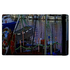 Christmas Boats In Harbor Apple iPad 2 Flip Case