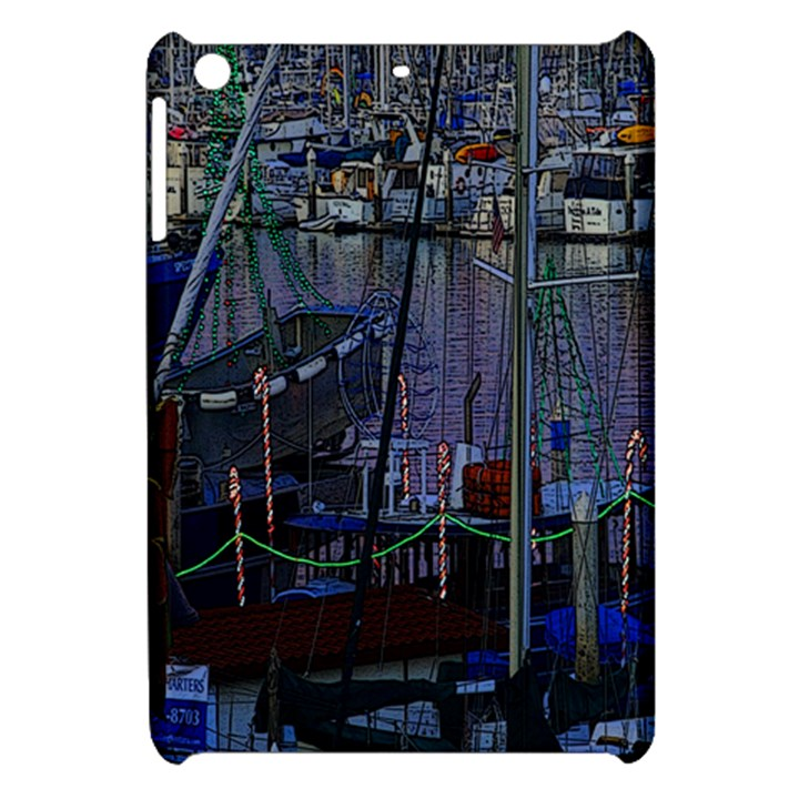 Christmas Boats In Harbor Apple iPad Mini Hardshell Case