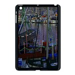 Christmas Boats In Harbor Apple iPad Mini Case (Black) Front