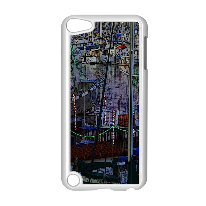 Christmas Boats In Harbor Apple iPod Touch 5 Case (White)