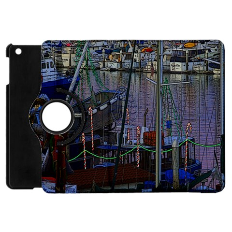 Christmas Boats In Harbor Apple iPad Mini Flip 360 Case