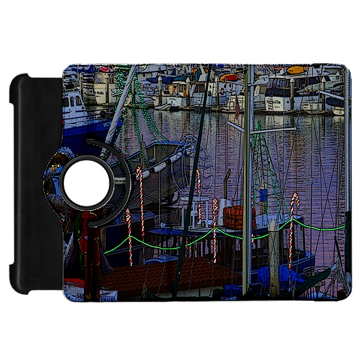 Christmas Boats In Harbor Kindle Fire HD Flip 360 Case