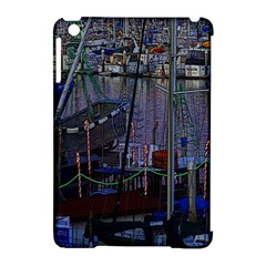 Christmas Boats In Harbor Apple iPad Mini Hardshell Case (Compatible with Smart Cover)