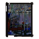 Christmas Boats In Harbor Apple iPad 3/4 Case (Black) Front