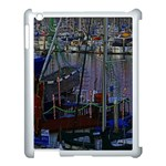 Christmas Boats In Harbor Apple iPad 3/4 Case (White) Front