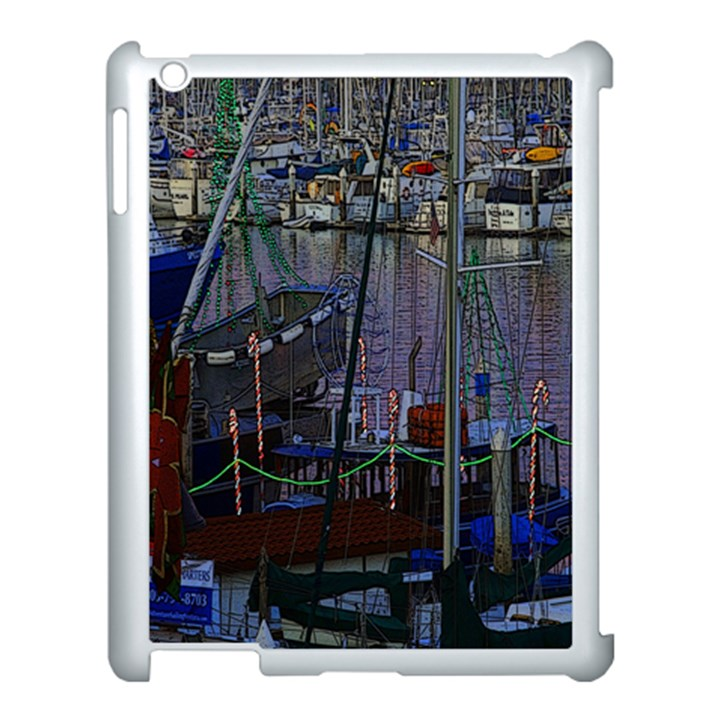 Christmas Boats In Harbor Apple iPad 3/4 Case (White)