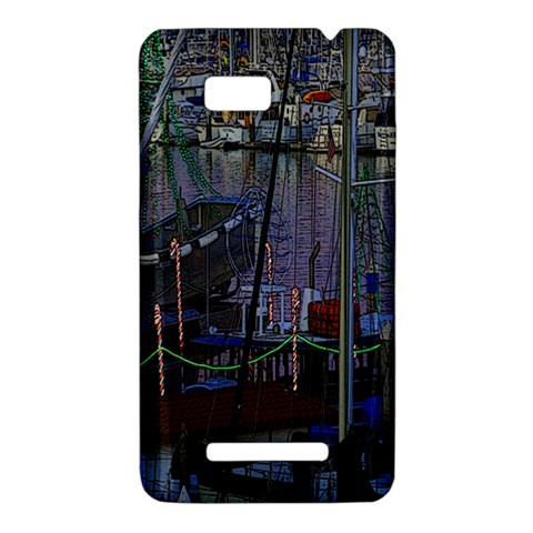 Christmas Boats In Harbor HTC One SU T528W Hardshell Case