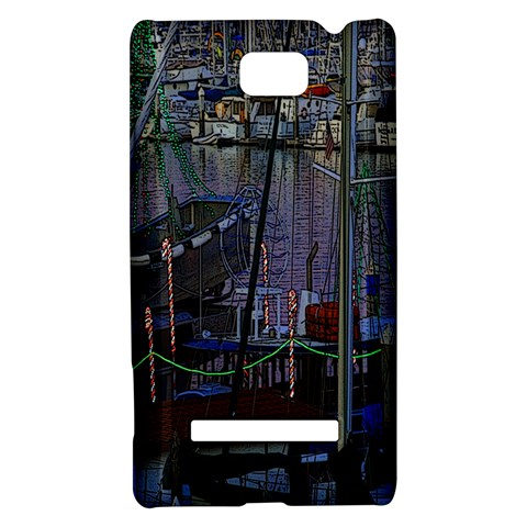 Christmas Boats In Harbor HTC 8S Hardshell Case