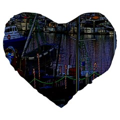 Christmas Boats In Harbor Large 19  Premium Heart Shape Cushions
