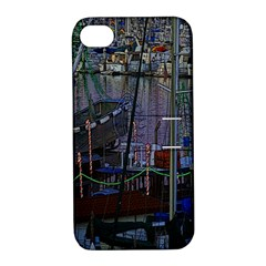 Christmas Boats In Harbor Apple iPhone 4/4S Hardshell Case with Stand