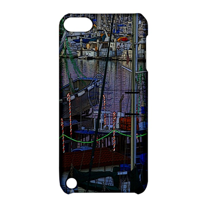 Christmas Boats In Harbor Apple iPod Touch 5 Hardshell Case with Stand