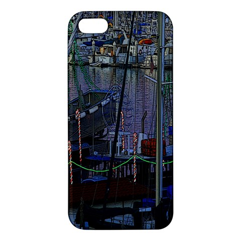 Christmas Boats In Harbor Apple iPhone 5 Premium Hardshell Case