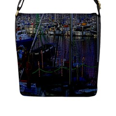Christmas Boats In Harbor Flap Messenger Bag (L)