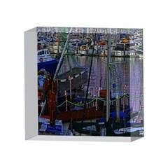 Christmas Boats In Harbor 4 x 4  Acrylic Photo Blocks
