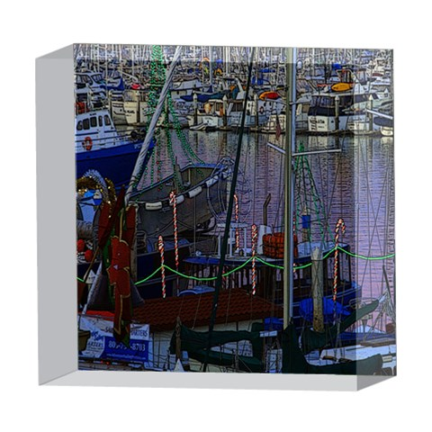 Christmas Boats In Harbor 5  x 5  Acrylic Photo Blocks