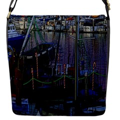 Christmas Boats In Harbor Flap Messenger Bag (S)