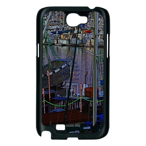Christmas Boats In Harbor Samsung Galaxy Note 2 Case (Black)