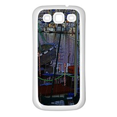 Christmas Boats In Harbor Samsung Galaxy S3 Back Case (White)