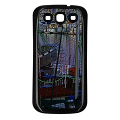 Christmas Boats In Harbor Samsung Galaxy S3 Back Case (Black)