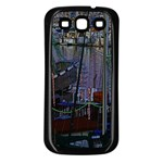 Christmas Boats In Harbor Samsung Galaxy S3 Back Case (Black) Front