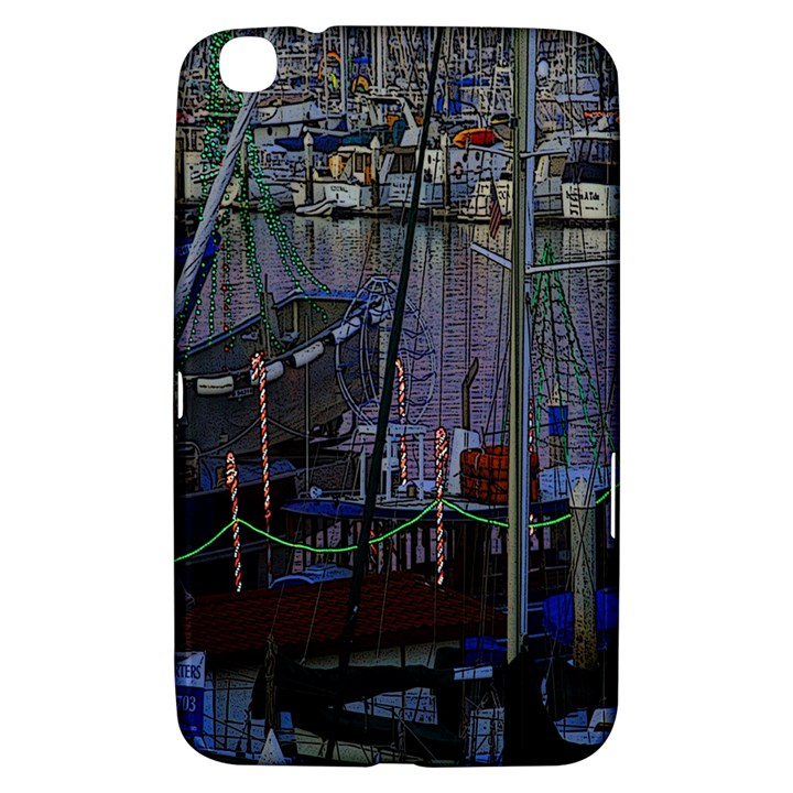 Christmas Boats In Harbor Samsung Galaxy Tab 3 (8 ) T3100 Hardshell Case