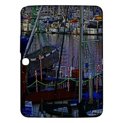 Christmas Boats In Harbor Samsung Galaxy Tab 3 (10.1 ) P5200 Hardshell Case