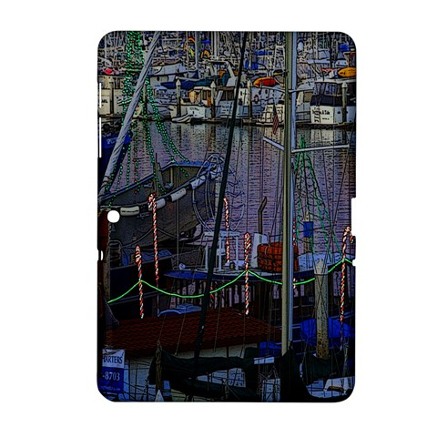 Christmas Boats In Harbor Samsung Galaxy Tab 2 (10.1 ) P5100 Hardshell Case