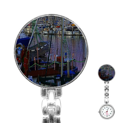 Christmas Boats In Harbor Stainless Steel Nurses Watch
