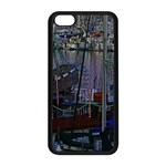 Christmas Boats In Harbor Apple iPhone 5C Seamless Case (Black) Front