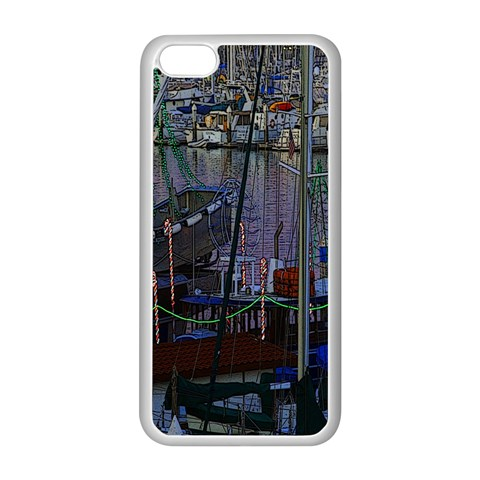Christmas Boats In Harbor Apple iPhone 5C Seamless Case (White)