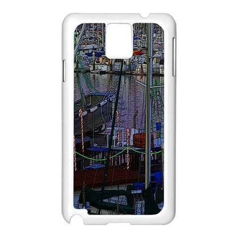 Christmas Boats In Harbor Samsung Galaxy Note 3 N9005 Case (White)