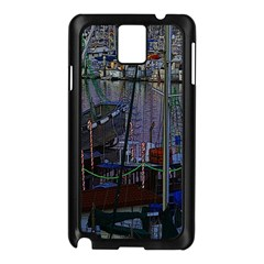 Christmas Boats In Harbor Samsung Galaxy Note 3 N9005 Case (Black)