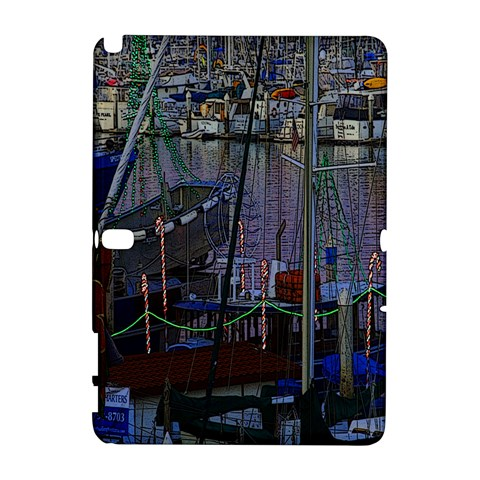 Christmas Boats In Harbor Samsung Galaxy Note 10.1 (P600) Hardshell Case