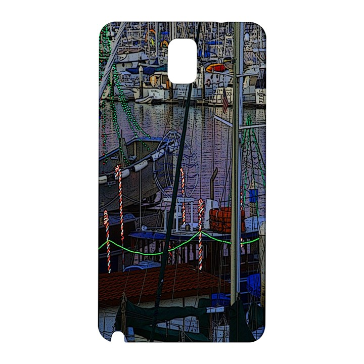 Christmas Boats In Harbor Samsung Galaxy Note 3 N9005 Hardshell Back Case