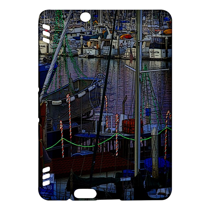 Christmas Boats In Harbor Kindle Fire HDX Hardshell Case