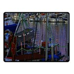 Christmas Boats In Harbor Double Sided Fleece Blanket (Small)  50 x40 Blanket Back