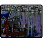 Christmas Boats In Harbor Double Sided Fleece Blanket (Medium)  60 x50 Blanket Back