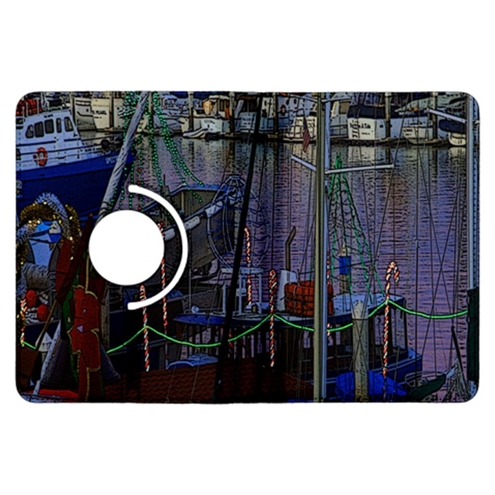 Christmas Boats In Harbor Kindle Fire HDX Flip 360 Case