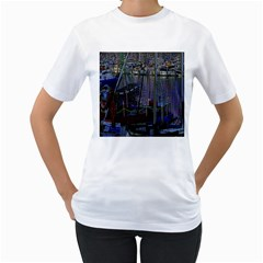 Christmas Boats In Harbor Women s T-Shirt (White)