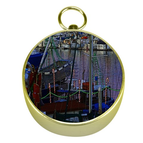 Christmas Boats In Harbor Gold Compasses