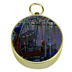 Christmas Boats In Harbor Gold Compasses Front