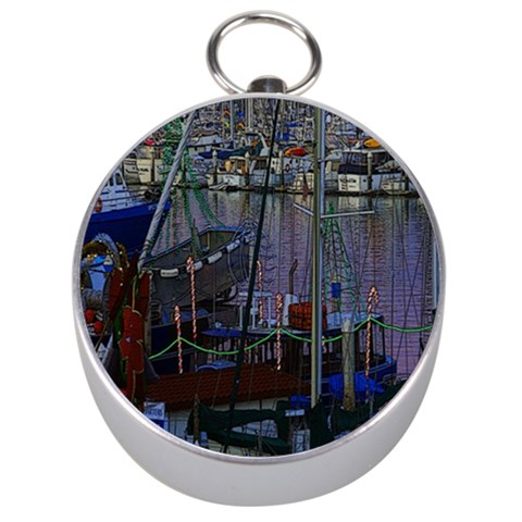 Christmas Boats In Harbor Silver Compasses
