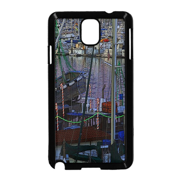 Christmas Boats In Harbor Samsung Galaxy Note 3 Neo Hardshell Case (Black)