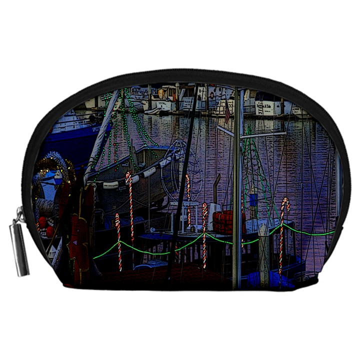 Christmas Boats In Harbor Accessory Pouches (Large)