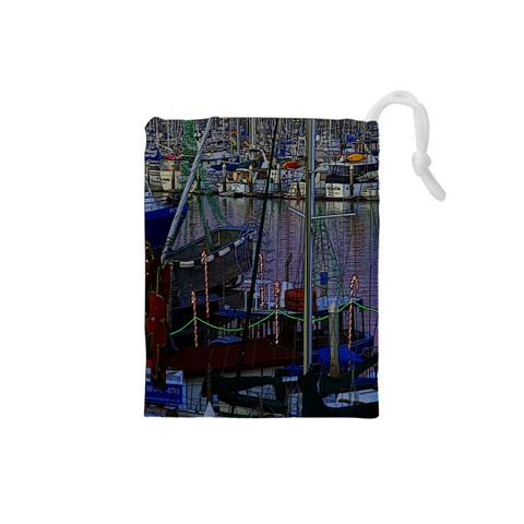 Christmas Boats In Harbor Drawstring Pouches (Small)