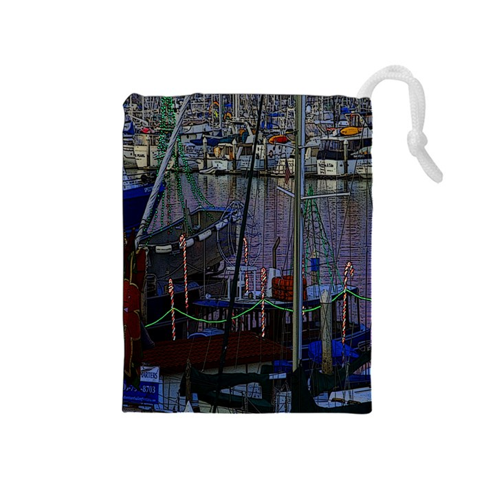 Christmas Boats In Harbor Drawstring Pouches (Medium)